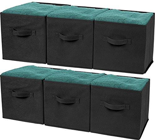 Greenco GRC2349 Foldable Non, Woven Fabric Storage Cubes, 6 Pack, Black