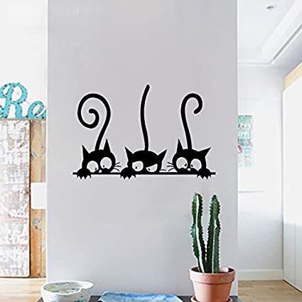 Dzy Creative Three Cat Bedroom Background PVC Wall Stickers Cute Vivid  Little Cat Removable Wall Art