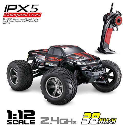 Hosim High Speed RC Off-Road Car 9112, 38km/h 1/12 Scale Radio Controlled Electric All Terrain Car - 2.4Ghz 2WD Remote Control Monster Truck for Both Kids and Adults (Red) (Black Operation Buck)