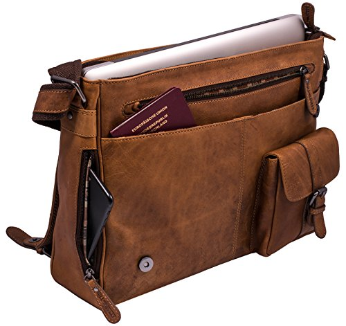 Hill Burry Vintage Leder Aktentasche | aus hochwertigem Rindsleder - Umhängetasche | Notebooktasche - Arbeitstasche | Echt-Leder Umhängetasche Unitasche Laptoptasche - Schultertasche (Braun) Braun RT7r0U