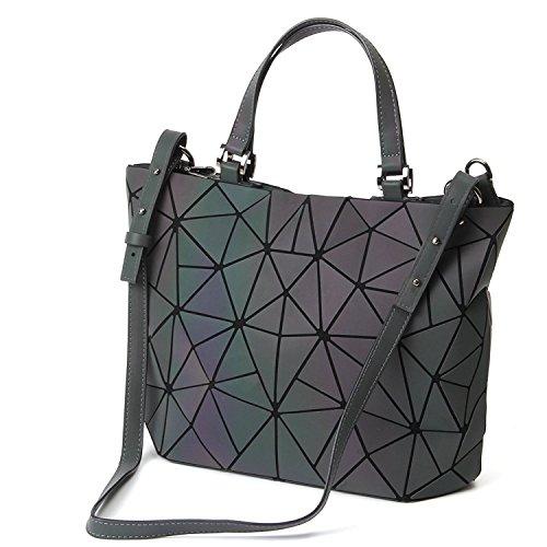 Geometric Lattice Luminous Shoulder Bag Holographic Reflective chain Cross-Body Bag Geometry Lingge purse Handbags (Luminous (Large Luminous)