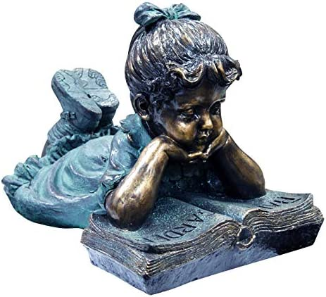 Alpine Corporation Girl Laying Down Reading Book Statue Set