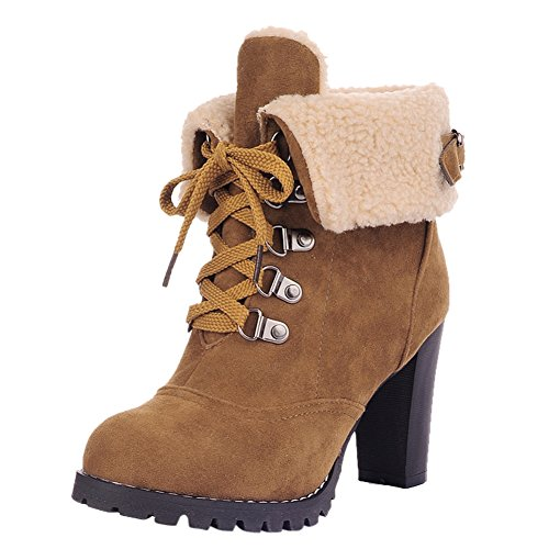 OCHENTA Femme Boots Cheville Hiver Talon Haut Bottine Chaussure Talon Jaune