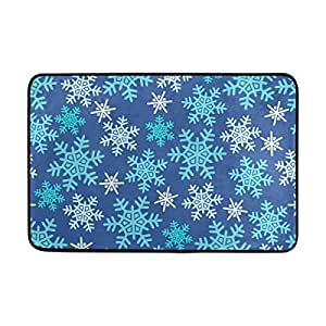 INGBAGS jstel copos de nieve Felpudo lavable interior/exterior jardín oficina Felpudo, cocina comedor pasillo baño Pet alfombra de entrada con base antideslizante.