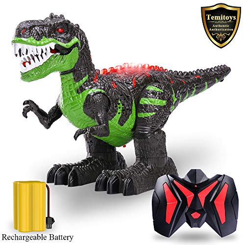 TEMI Remote Control Dinosaur for Kids Boys Girls, Electronic RC Toys Educational Walking Tyrannosaurus Rex Dinosaur with Lights and Sounds Powered by Rechargeable Battery, 360 Degree Rotation Stunt ()