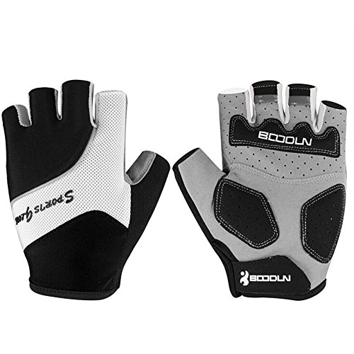 Ezyoutdoor Unisex Breathable Half Finger Glove Shock-Absorbing Gel Pad Mountain Bicycle Bike Road Racing Gloves (Black, Medium)