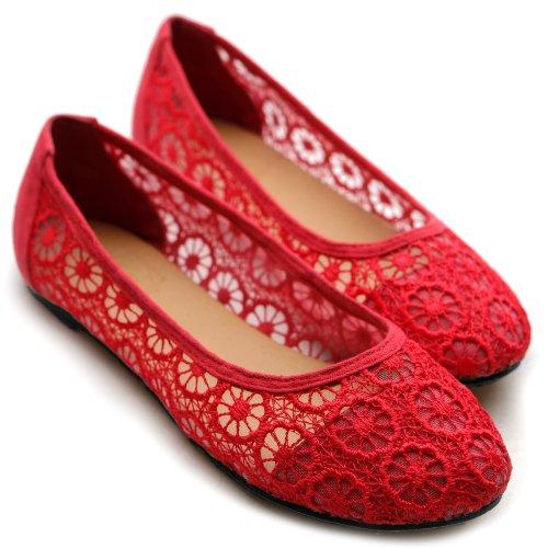 Ollio Damen Ballettschuh Floral Lace Atmungsaktive Flache rot