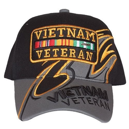 Embroidered Ball Cap, Vietnam Veteran Shark Fine/Black/Grey (Vietnam Military Ball Cap)