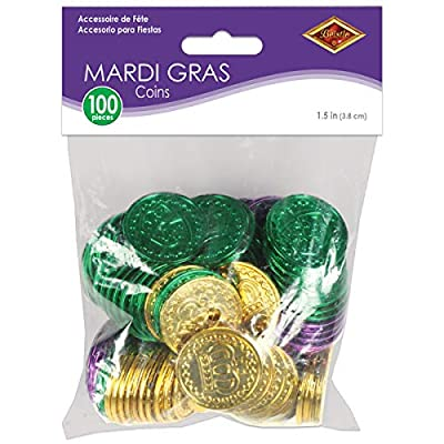 Mardi Gras Plastic Coins (asstd gold, green, purple) (100/Pkg): Childrens Party Decorations: Kitchen & Dining