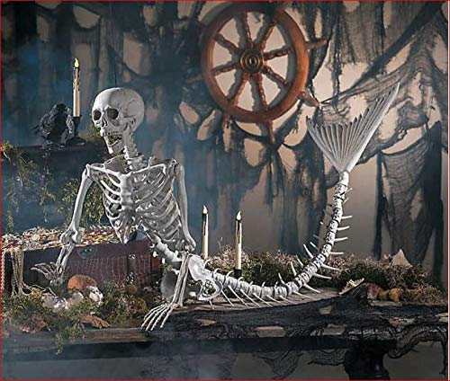 TRM Autumn Fall Halloween Decor Life Sized Size Mermaid Skeleton Haunted Prop -