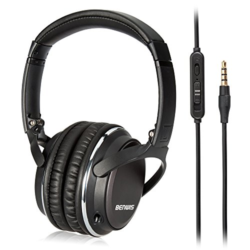 Benwis Wired Computer Headsets, Over Ear Headphones, Lightweight Foldable Hi-Fi Stereo Headset Corded Earphones with Microphone Foldable Deep Bass Noise Cancelling for Computer Cell phone TV, Black