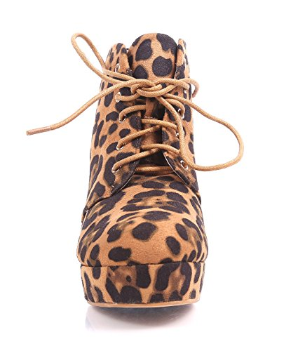 Suede up Lace Bella Faux Heel Leopard Ankle Women Boots Marie High 0wqzPqxS4