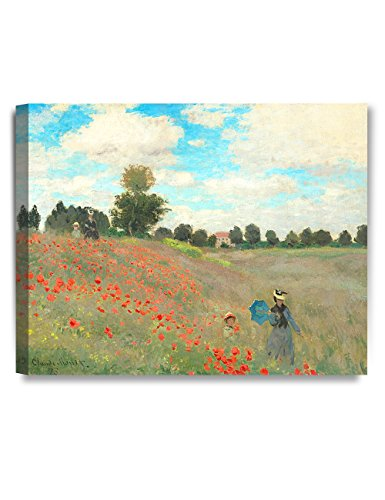 DECORARTS - Poppies at Argenteuil, 1873, Claude Monet Art Reproduction. Giclee Canvas Prints Wall Art for Home Decor 20x16 - Poppy Field Gift