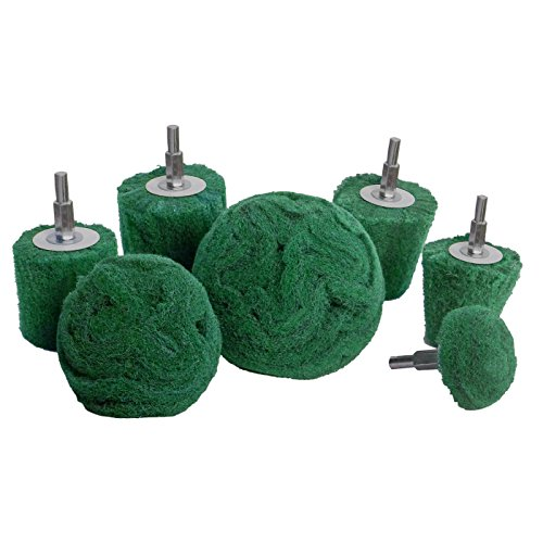 7 pack Non woven Abrasive Drill Buffing Attachment Set, Green Medium Coarse