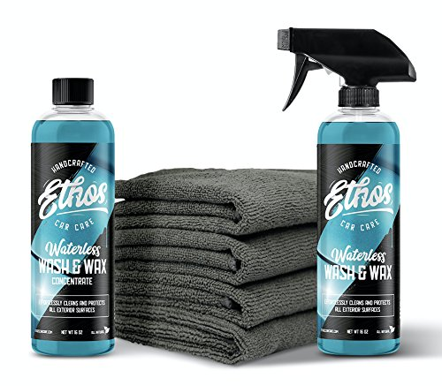 Ethos Car Care Waterless Wash and Wax Kit, All Natural!(MAKES 160 OUNCES) with Plush Microfiber Towels, Concentrated Formula! Clean and protect your vehicle in one easy step, anytime, anywhere