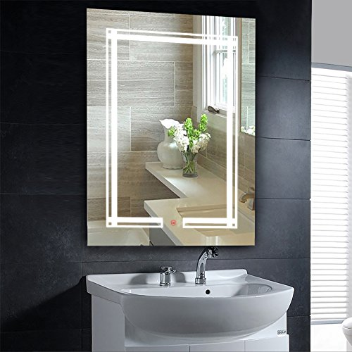 20'' x 28'' Inch LED Lighted Wall Mirror YaDianNa Rectangle Bathroom Vanity Mirror with Touch Button and LED Lights for Bathroom, Living room, and Bedroom by yadianna