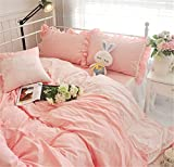 Lotus Karen Sweet Candy Color Pink Ruffles Korean Bedding Set With Embroidery Lace Vase Flower 100%Cotton 4PC Girls Bed Sheet Set,1Duvet Cover,1Bedskirt,2Pillowcases