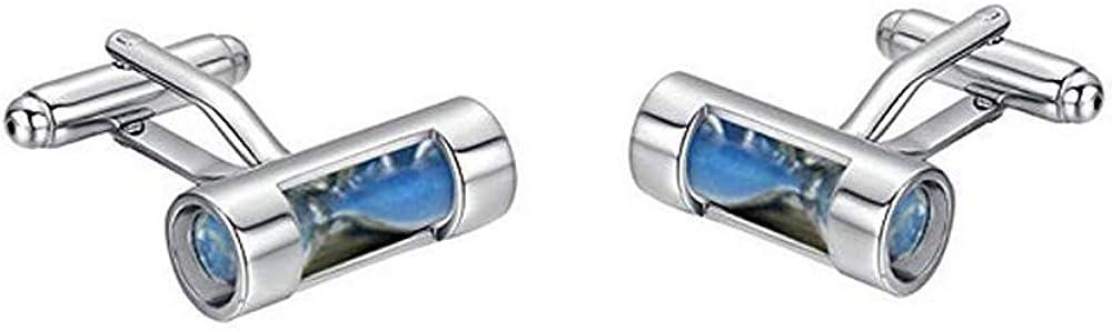 Jialan Jewelry Sand Timer Hourglass Cufflinks for Men Shirts Tuxedo Mens Set Cufflinks Party/Wedding/Business Gift