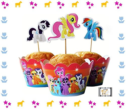 New 24pc My Little Pony Baking Packaging Cupcake Muffin Wrappers Toppers Kit for Kids Birthday Party Baby Shower Serve 12 (Rainbow) (My Little Pony Cupcake Wrappers)