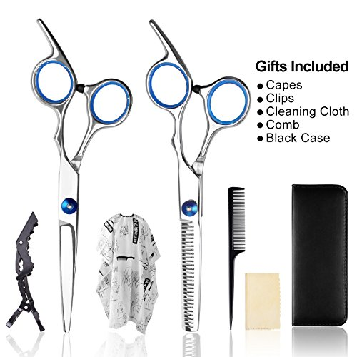 Hair Cutting Scissors/Thinning Shears/Professional Barber/Salon Razor Edge Tools set/Mustache Scissors and Barber Scissors with Fine Adjustment Screw-High Quality Japanese Stainless Steel kit-Apriller - Edge Thinning Scissors