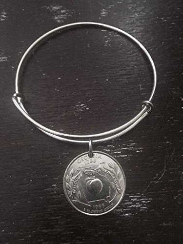 Georgia state quarter expandable wire bangle bracelet