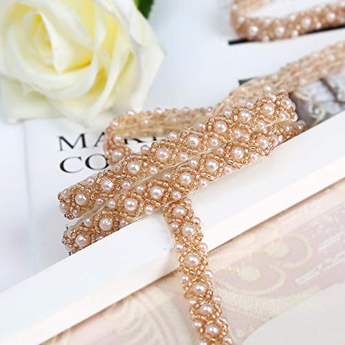 QueenDream 2 Yards Bridal Sash Rhinestone Appliques Wedding Belt Applique Crystal Belt Applique for Dresses