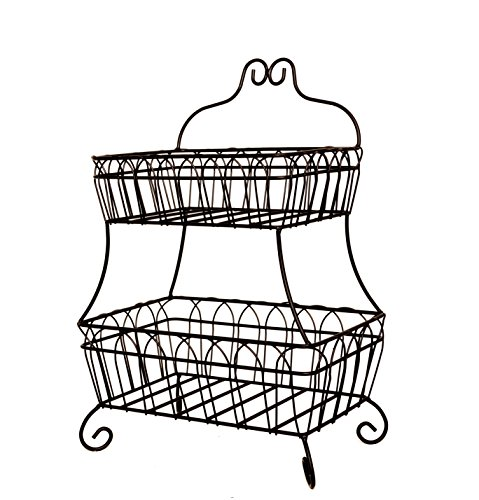 JMiles UH-FB235 Two Tiered Decorative Wire Basket for Fruit, Bread, and More - Decorative Display Basket for Home, Deli, Restaurant, or Office