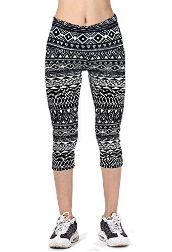 Women's Active Workout Capri Leggings Shorts Stretchy Tights(Black stripe,S) (Women Capri Tights)