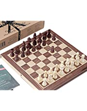 Chess Sets - Genuine Jaques Chess Set with Folding Walnut and Sycamore Inlaid Chess Board & Case - Jaques of London - Quality Chess Since 1795