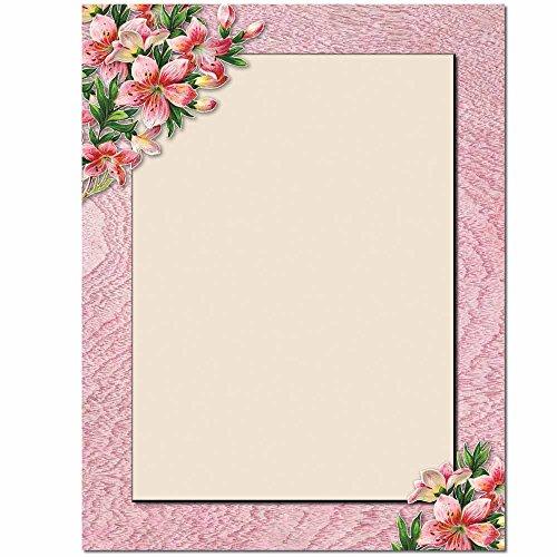 Pink Lilies Letterhead Laser & Inkjet Printer Paper, 100 pack (Wedding Flower Borders)