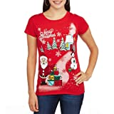 Merry Christmas Curbside Santa Claus Snowman Red Graphic T-Shirt - Medium offers