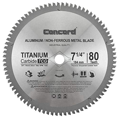 "Concord Blades ACB0725T080HP 7-1/4"" 80 Teeth TCT Non-Ferrous Metal Saw Blade"