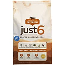 Rachael Ray Nutrish Just 6 Natural Dry Dog Food, Limited Ingredient, Lamb Meal & Brown Rice Recipe, 14 lbs