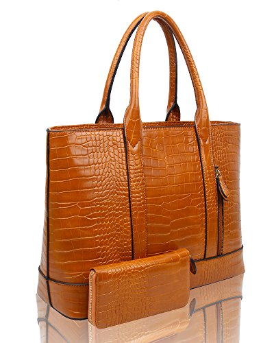 SwankySwans - Audrey Faux Leather Tote Bag Wallet, Borse Tote Donna Marrone (Tan)