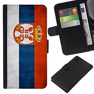 BearCase / Cuero de la tarjeta la carpeta del tirón Smartphone Slots Protección Holder /// Sony Xperia Z1 L39 /// Nacional bandera de la nación País Serbia
