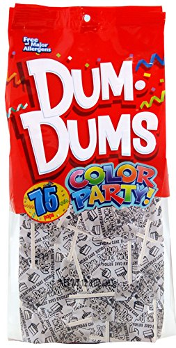 Dum Dums Color Party Lollipops, White, Birthday Cake Flavor, 12.8 Ounce, 75 Count Bag (White Lollipop)