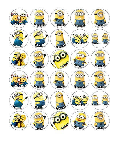 30 x Edible Cupcake Toppers – Minions Despicable Me Themed Party Collection of Edible Cake Decorations| Uncut Edible Prints on Wafer Sheet  ()