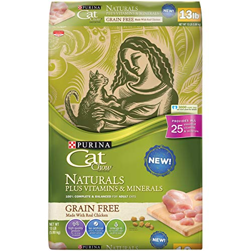 Purina Cat Chow Grain Free, Natural Dry Cat Food, Naturals With Real Chicken – 13 lb. Bag