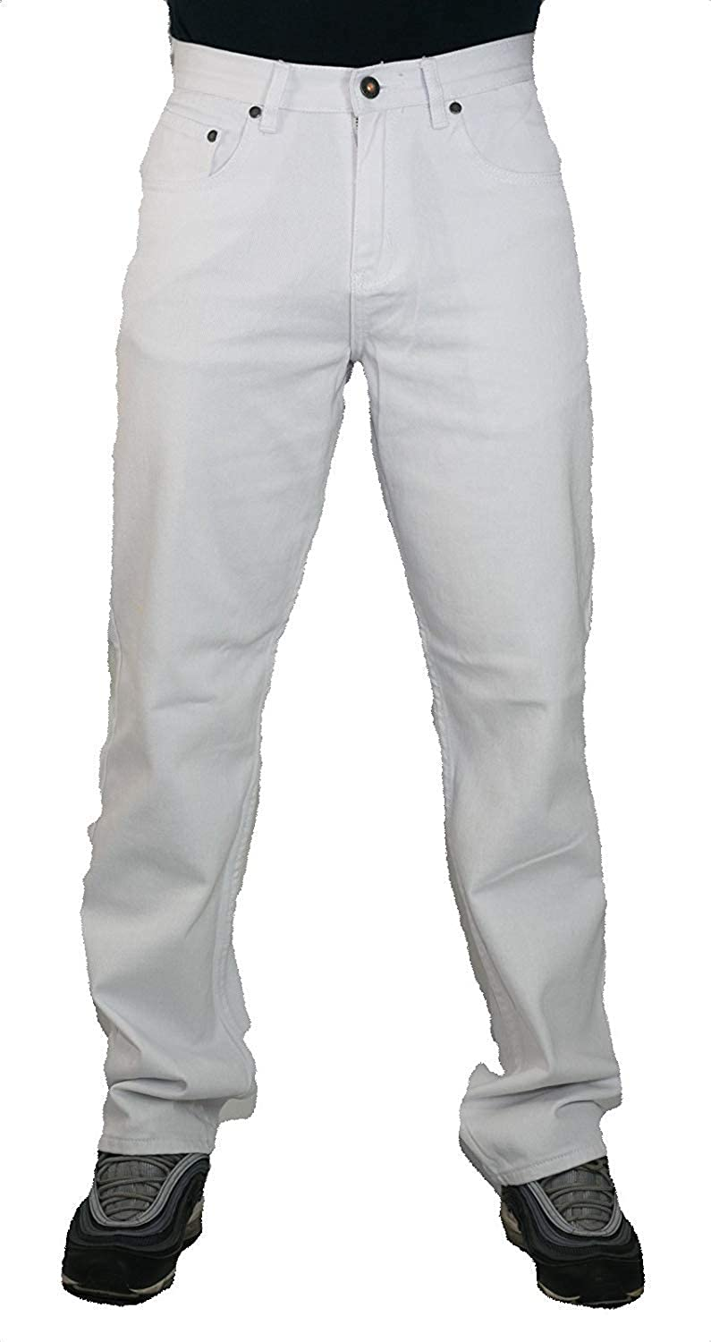 82f265ae Peviani Mens White Jeans, Comfort g fit Straight fit Urban Star wash  Trousers, Pants, Cotton Denim Relaxed: Amazon.co.uk: Clothing