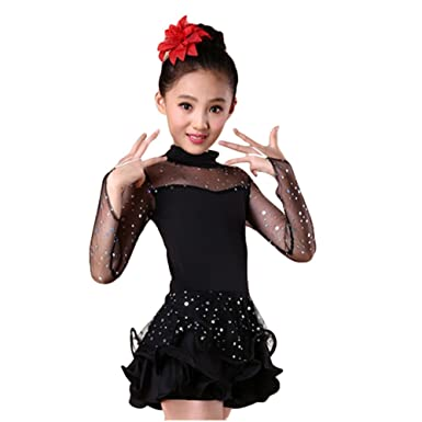c6dbf1210e10 Amazon.com  Girls Sequin Dance Costume Latin Rumba Dance Dress ...