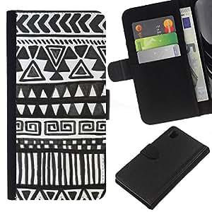 iBinBang / Flip Funda de Cuero Case Cover - Modelo de Chevron Negro Arte de papel - Sony Xperia Z1 L39H
