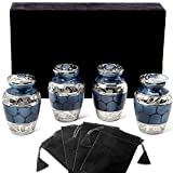 Heavenly Peace Dark Blue Small Keepsake Urns for Human Ashes - Set of 4 - Beautiful Mini Keepsake Sharing Urns to Honor Your Love One - with Velvet Case and 4 Individual Velvet Bags