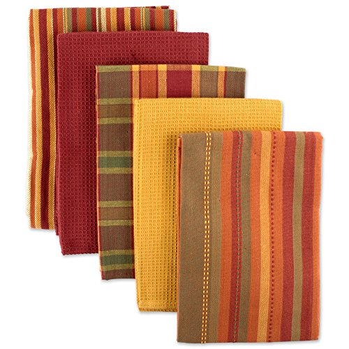 DII Oversized Kitchen Towels (Spice, 18x28), Ultra Absorbent & Fast Drying, Professional Grade Cotton Tea Towels for Everyday Cooking and Baking - Assorted Patterns, Set of 5