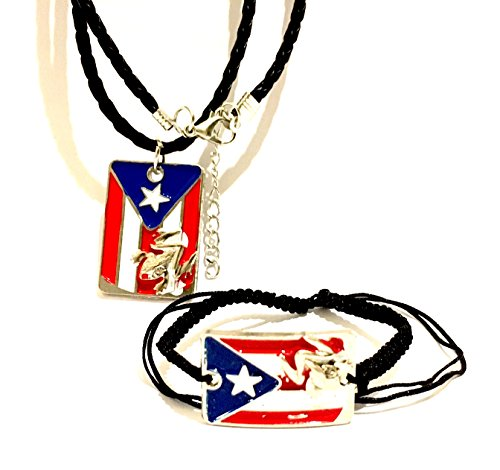 - Puerto Rico Flag Necklace & Wristband 2pc set