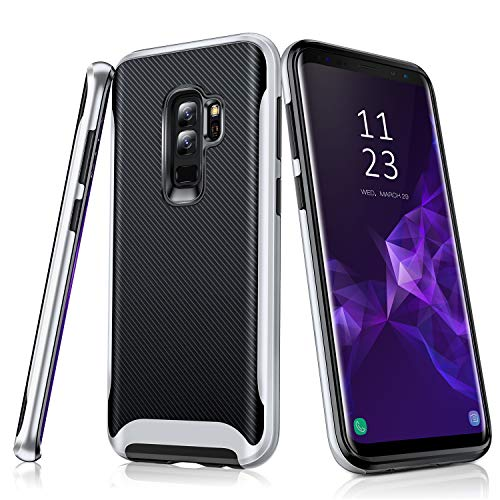 TORRAS Hybrid Galaxy S9 Plus Case, Flexible Soft TPU Rubber and Reinforced Hard Plastic Bumper Frame Phone Case Compatible with Galaxy S9 Plus,Black+Silver by TORRAS