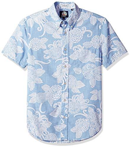 Reyn Spooner Men's Weekend Wash Tailored Fit Hawaiian Shirt, Opti Mums - Denim M