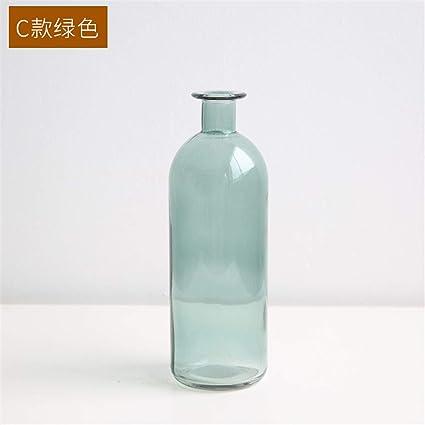 Xin Pang Jarrón Boca Pequeña Botella De Vidrio Transparente Jarrón Jarrón De Flores Secas Hogar Salón