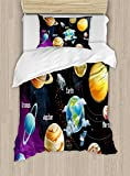 Ambesonne Outer Space Duvet Cover Set Twin Size, Solar System of Planets Milky Way Neptune Venus Mercury Sphere Illustration, Decorative 2 Piece Bedding Set with 1 Pillow Sham, Multicolor