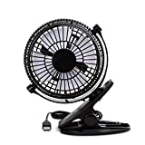 Esup USB Clip on Mini Desk Fan, Quiet Operation,360°up and down, 2 Speed Mode for Baby Stroller Car Laptop Table Workout Camping Outdoors Home Office-Black