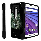 Motorola Moto Droid Maxx 2 black Case| Moto X-Play Case[Traveler Series] Shell Defender with Built in Kickstand, Two Piece Hybrid Case by Untouchble - Green Wolf